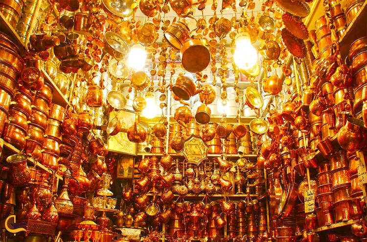 ظروف مسی در بازار مسگرای شیراز