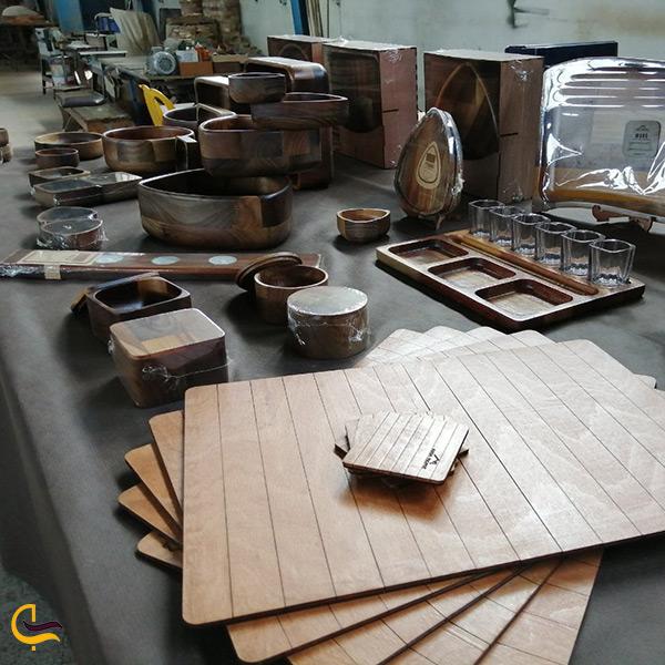 ظروف چوبی دست ساز سوغاتی خاص شهر محمودآباد