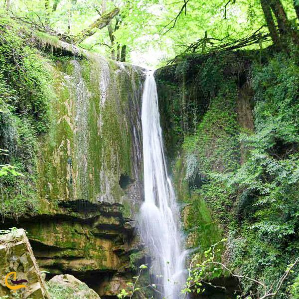 نمایی از آبشار جنگل لفور