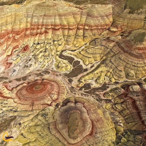 نمای کلی و از بالای تپه های رنگی اورگون ایالت پرتلند