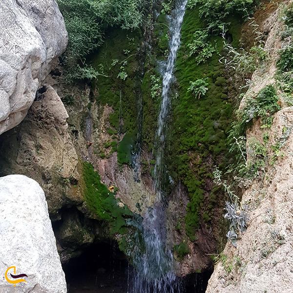 تصویر زیبا از آبشار سرسبز و خروشان در تنگه رغز