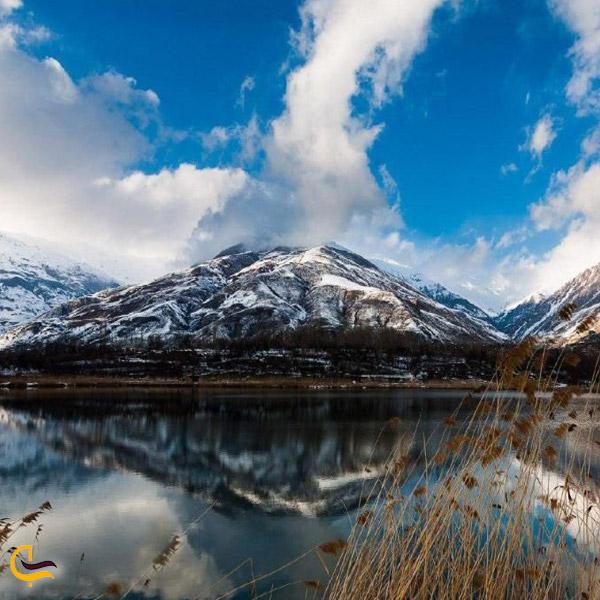 تصویری از کوه و دریاچه اوان قزوین