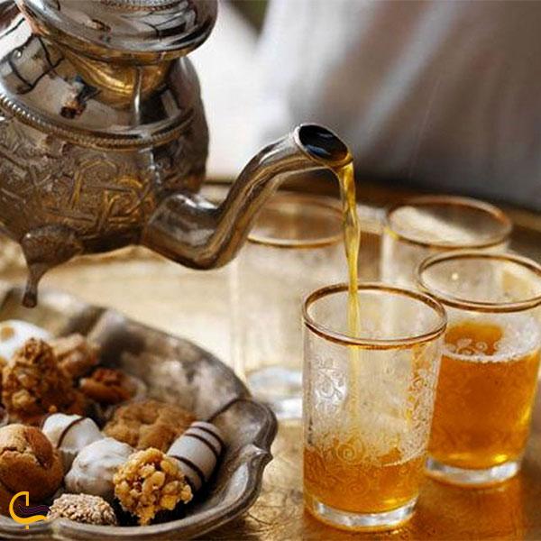 نمایی از چای سنتی مراکشی رستوران موویدا