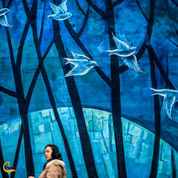 تصویری از دیوارنگاره آبی تقاطع مفتح