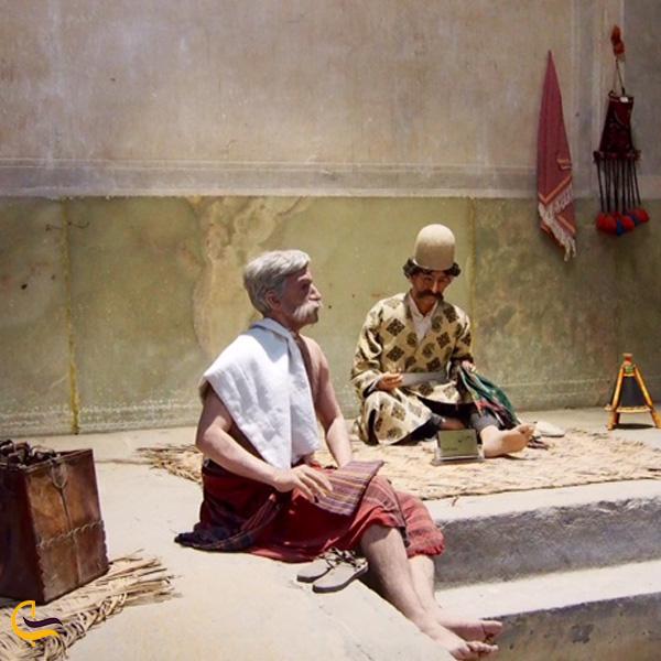 تصویری از مجسمه در موزه حمام شیراز