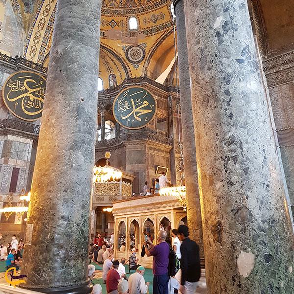 عکس ستون های مسجد ایاصوفیه استانبول